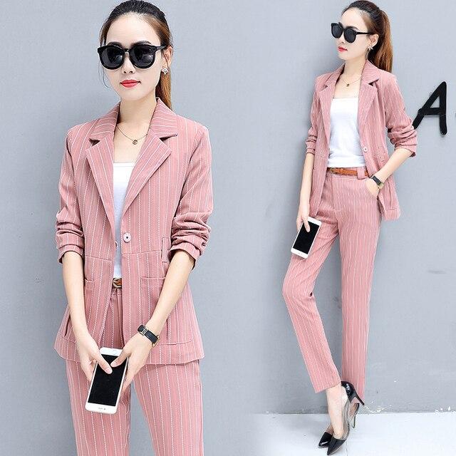 8702af81e9 US $39.88 |Autumn suit new Korean fashion two piece clothing set striped  suit blazer top slim pants outfit with belt jacket clothes S XXL-in Women's  ...