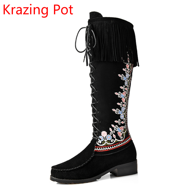 Handmade Brand Winter Shoes Embroidery Nubuck Leather Warm Flower Women Knee-high Boots Lace Up Thick Heel Fashion Boots L56 bomhcs korean thermal thick yarn handmade women knitted hat winter warm slouch beanie caps roll up