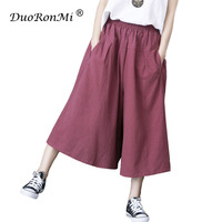New Wide Leg Women Pants Casual Cotton Linen Soft Solid Elastic Waist Ankle Length Summer Loose