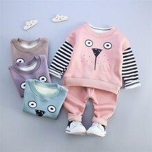 Infant Winter Hello Kitty Warm Cotton Hoodies Jackets Pants 3pcs Sport Suit Clothing Baby Boys Girls Velvet Thicken Sweatshirts