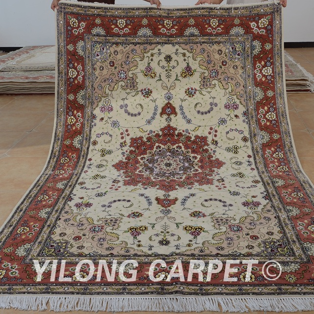 Yilong 6 X9 Oriental Handmade Persain Wool Thick Carpet Exquisite Persian Rug Hand