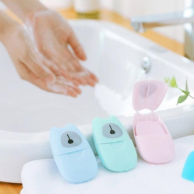 חד פעמי התאגרף סבון נייר 50 pcs נסיעות נייד יד כביסה תיבת ריחני פרוס גיליונות מיני סבון נייר