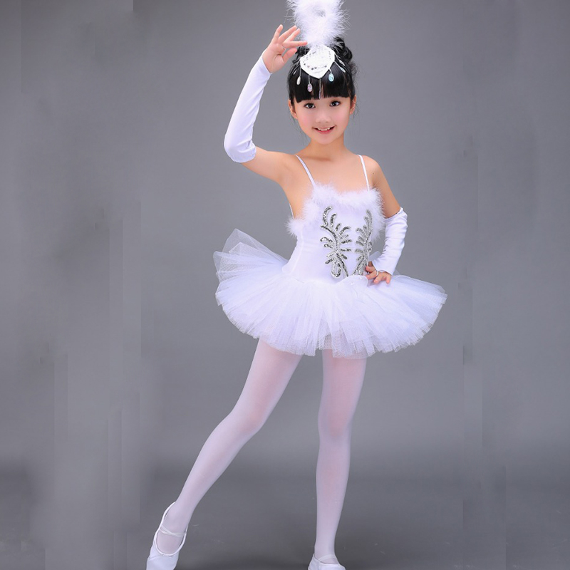 Girls Children White Lake Sequins Ballet Tutu Tulle Ballerina Ball Gown Dress Costume For Girls Kids Dancewear Dance Dress 37 new girls ballet costumes sleeveless leotards dance dress ballet tutu gymnastics leotard acrobatics dancewear dress