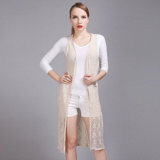 Autumn New Fashion Sleeveless Crocheted Long Knitting Cardigan Vest