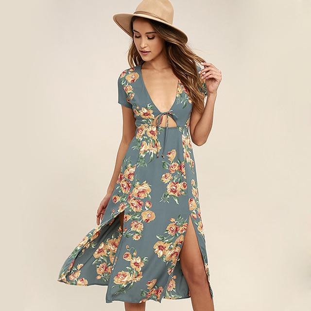 Floral Dress Newest Summer Midi Deep V Hollow Out High Split Women Sexy Beach  Dresses Casual Boho Loose Swing Mori Girl Dress XL e4915bd59782