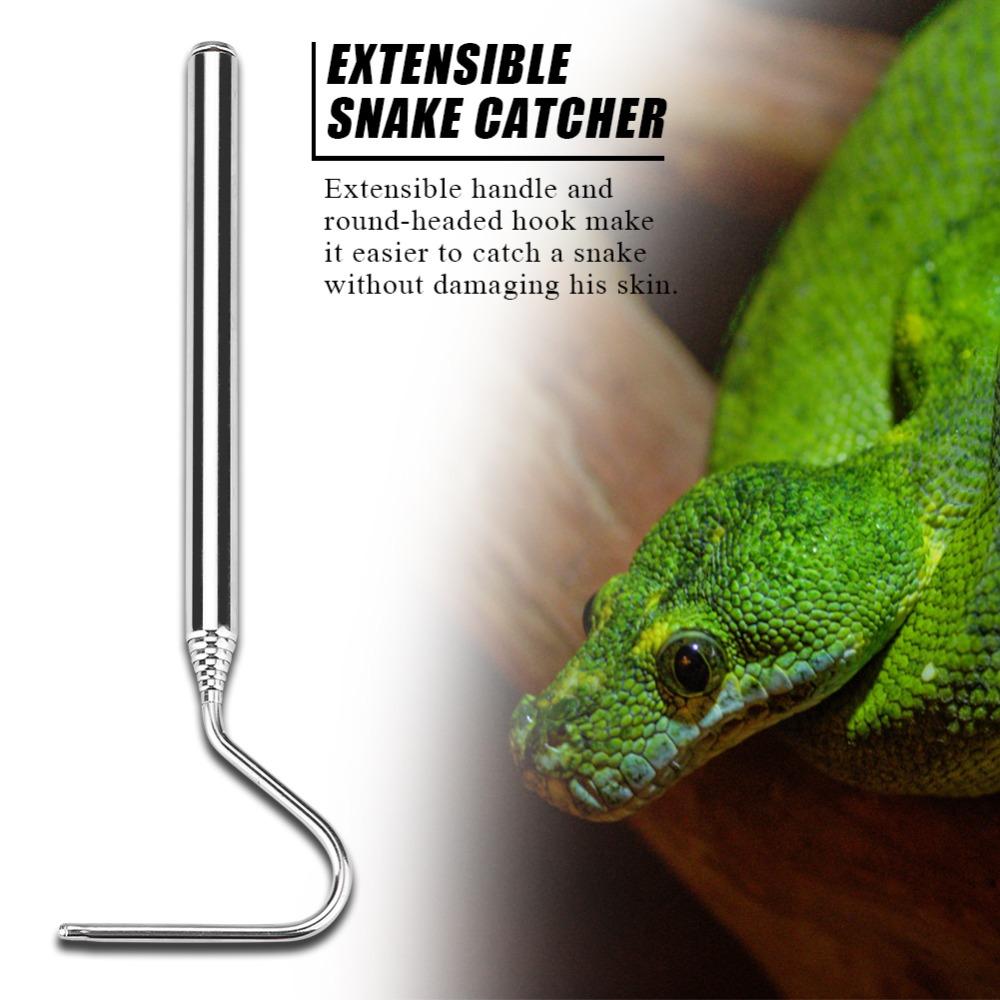 Stainless Steel Extensible Telescoping Snake Reptile Catcher Capture Hook Extensible Snake Catcher Reptile Catcher