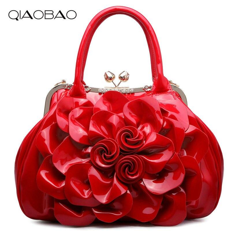 QIAOBAO HOT 2017 women's candy color handbag vintage fashion shoulder Flower bag Patent Leather bags women messenger bag patent leather handbag shoulder bag for women