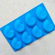 8 mesmo novos caracol, molde de silicone para bolo em forma de concha, forma de concha criativa gel de sílica para sabão e886