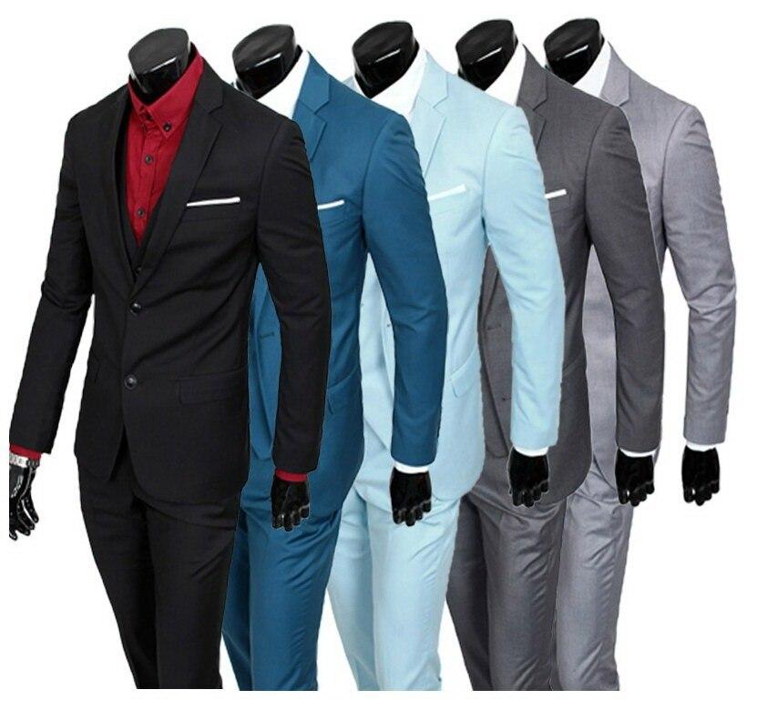 Derniers deux boutons marié Tuxedos noir gris bleu vert meilleur homme notchrevers Groomsman hommes costumes de mariage (veste + pantalon + gilet + cravate)-in Costumes from Vêtements homme on AliExpress - 11.11_Double 11_Singles' Day 1