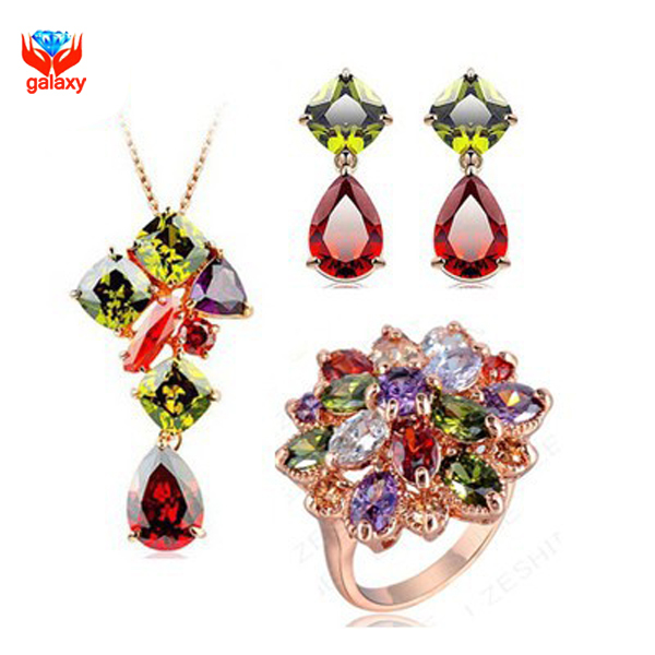 YHAMNI Brand Fashion 24K Gold Filled Jewelry Sets Luxury Colorful Zircon Crystal Ring Necklace Earrings Bridal Jewelry Set YS036