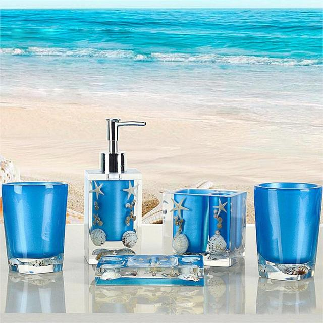 5pcs Blue Bath Accessory Set Sea Style Resin Toothbrush Holder Lotion  Dispenser Set