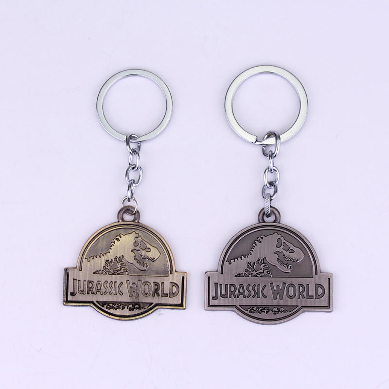 HANCHANG Jewelry Movie Jurassic Park Dinosaur Pendant Key Chain Jurassic World Metal Pendent Keyring Gift For Man Woman Car Key