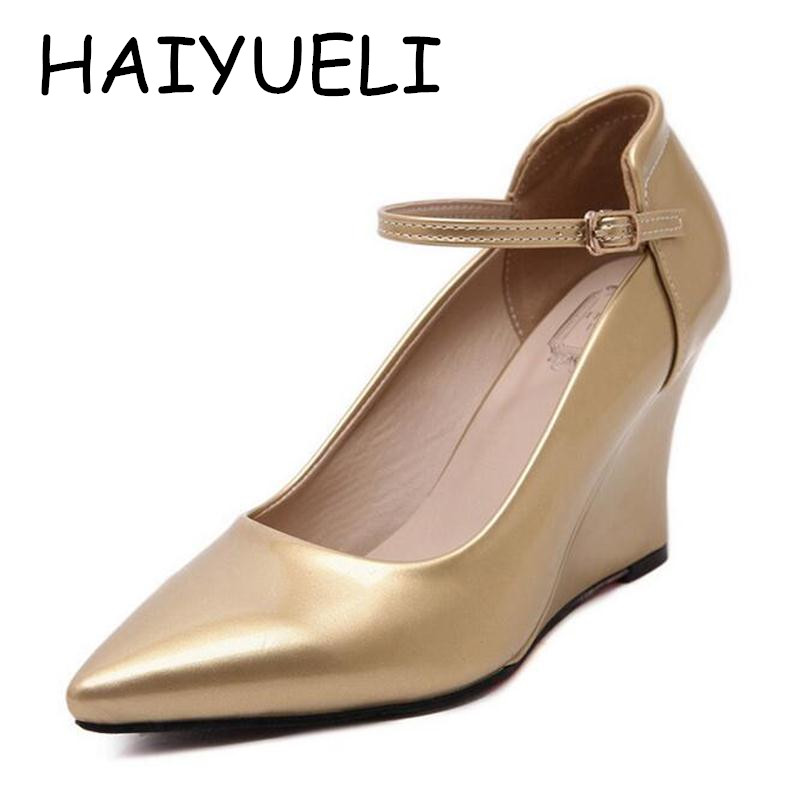 Brand New Women Pumps Wedge Heels PU Pointed Toe High Heels Golden Work Wedding Shoes Woman Wedges Plus size 34-40 plus size 2017 new summer suede women shoes pointed toe high heels sandals woman work shoes fashion flowers womens heels pumps