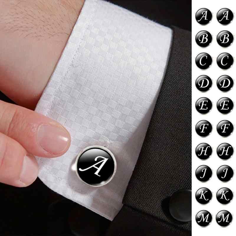 Мужская мода, A-Z, одиночные запонки «Алфавит», серебристая пуговица-манжета с буквами для мужчин, джентльменская рубашка, свадебные запонки, подарки
