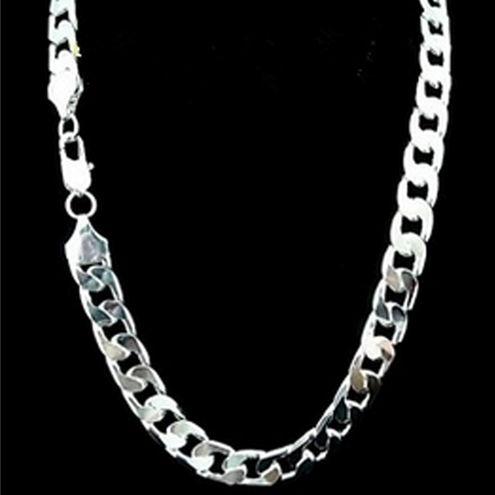 Wholesale Price 925 sterling solid silver plated chains necklace 22inch men fashion necklaces jewelry