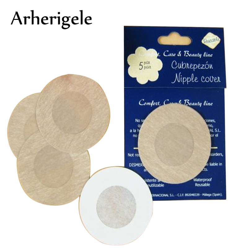 Buy Arherigele 5pair/lot Women's Breasts Stickers Invisible Round Adhesive Nipple Covers Bra Pads Anti Emptied Chest Paste Stickers