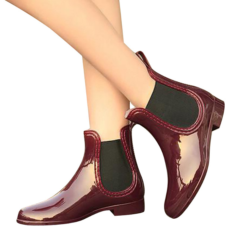 Feng-Nong-Spring-winter-boots-brand-design-ankle-boots-rain-boots-elastic-band-shoes-woman-solid