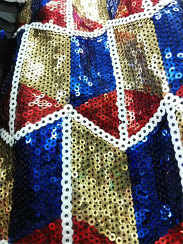 African Tulle Sequin Lace Fabric  African FRENCH Lace fabric with Sequins High Quality French Lace Sequin Fabric BLUE GOLD RED