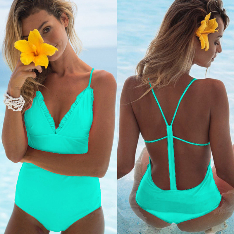 One Piece Biquini Swimsuit Women Swimwear Ruffle Bodysuits Blue Swimming Suit Bathing Suits Beachwear Monokini trajes de bano