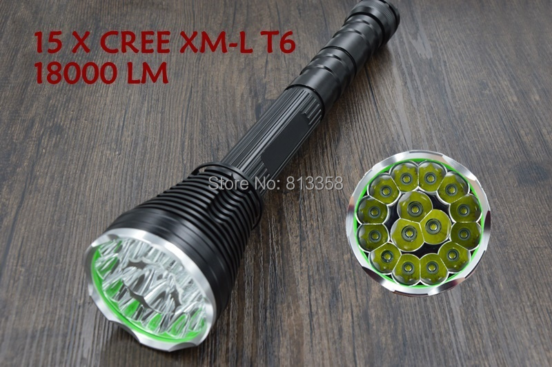 18000 Lumens 15 x CREE XM-T6 LED 5 Light Modes Waterproof Super Bright Flashlight Torch 15led cree xm l t6 18000 lumens led flashlight 5 mode waterproof super bright torch flash light 1200m lighting distance light
