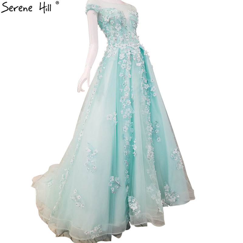 Short Sleeves Sexy Latest Evening Gown Designs 2019 New Flowers Pearls Beach Tulle Formal Evening Dress Vestido De Festa