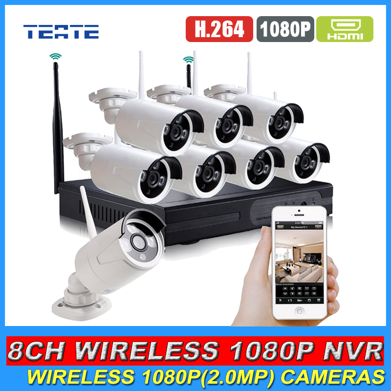 8CH CCTV System Full HD Wireless NVR 8pcs 1080P Waterproof IP WIFI Camera Home Security Safety System Kit 8channel