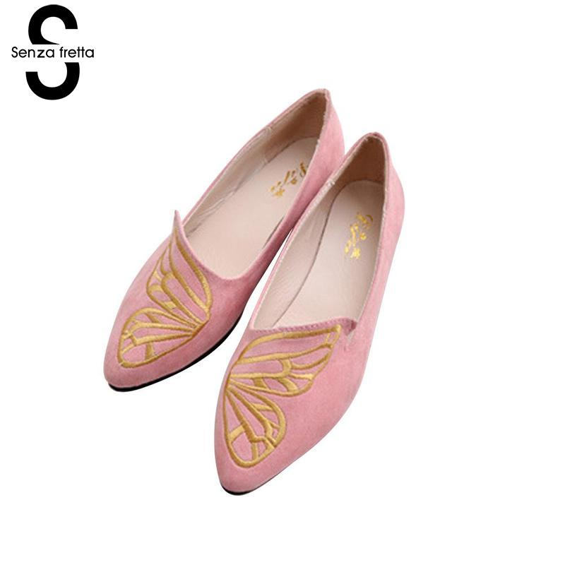 Senza Fretta 2018 New Spring Butterfly Women Shoes Flats Fashion Female Flats Women Flat Shoes High Quality Soft Bottom Shoes цены онлайн