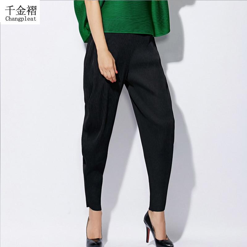 Csúcsminőségű női divat Miyak Pliss 2017 Design fold Nadrág Rugalmas derékú alkalmi hárem nadrág plusz méret