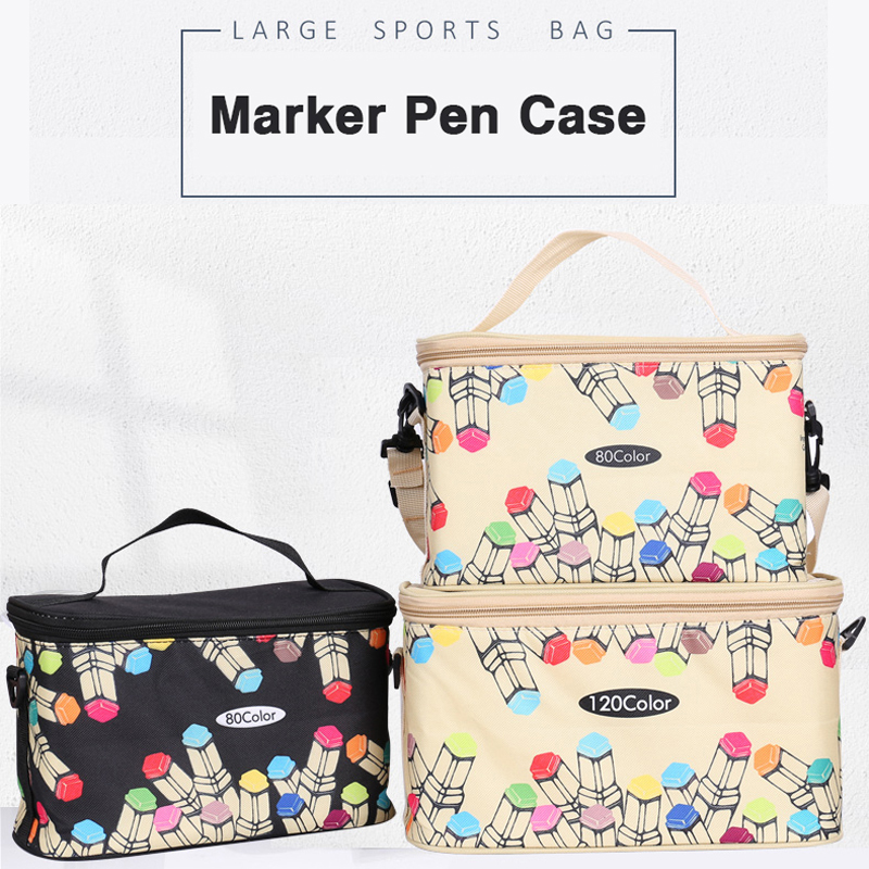 80-120 Large Capacity Marker Pen Case Folding Canvas Handbag Artist Marker Bag Storage Student Stationery Art Supplies Organizer