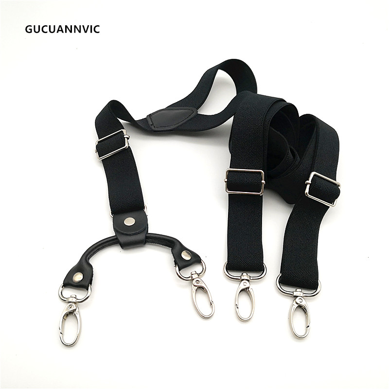 NEW Black Long Hook-and-loop Suspenders Women And Men Decorative 3 Hooks Or 4 Hooks 2.5cm Pants Suspender Mens Braces HOT