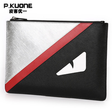 P.KUONE Brand Luxury Genuine Leather Men Clutch Bags Monster Eye Male Long Wallet Zipper Hand Bag Phone Card Holder Large Purse