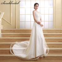 In Stock Long Elegant A Line Ivory Wedding Dresses 2015 Appliques Wedding Dresses Bridal Gowns Beaded