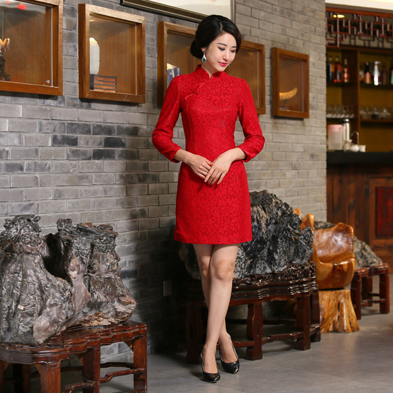 National Vintage font b Women s b font Red Wool Short Cheongsam font b Fashion b