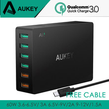 AUKEY 60W Quick Charge 3.0 Multi USB Fast Turbo Wall Charger 6 Port USB Mobile Phone Desktop Compatible With All Qualcomm Phones(China)