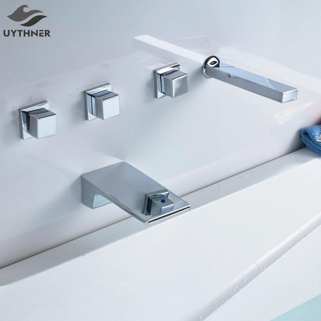 Uythner 5PCS Three Handles Waterfall Spout Bathtub Faucet W/ Handheld  Shower Sprayer Mixer Tap Deck