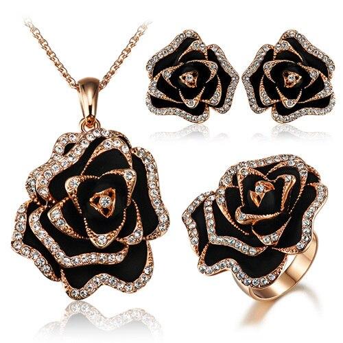 Accessoires rose mode anneau exagéré fleur noire stud boucle d'oreille en or rose collier ensemble femme tz53