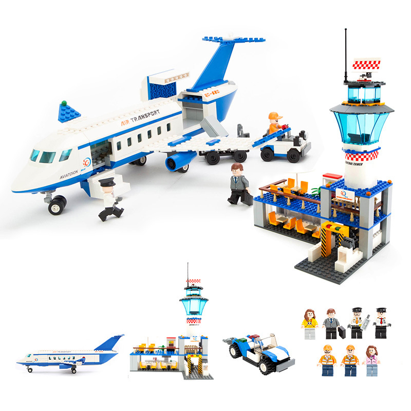 Models building toy Building Blocks Compatible with lego City International Airport Blocks 652pcs toys & hobbies birthday gift gudi city international airport