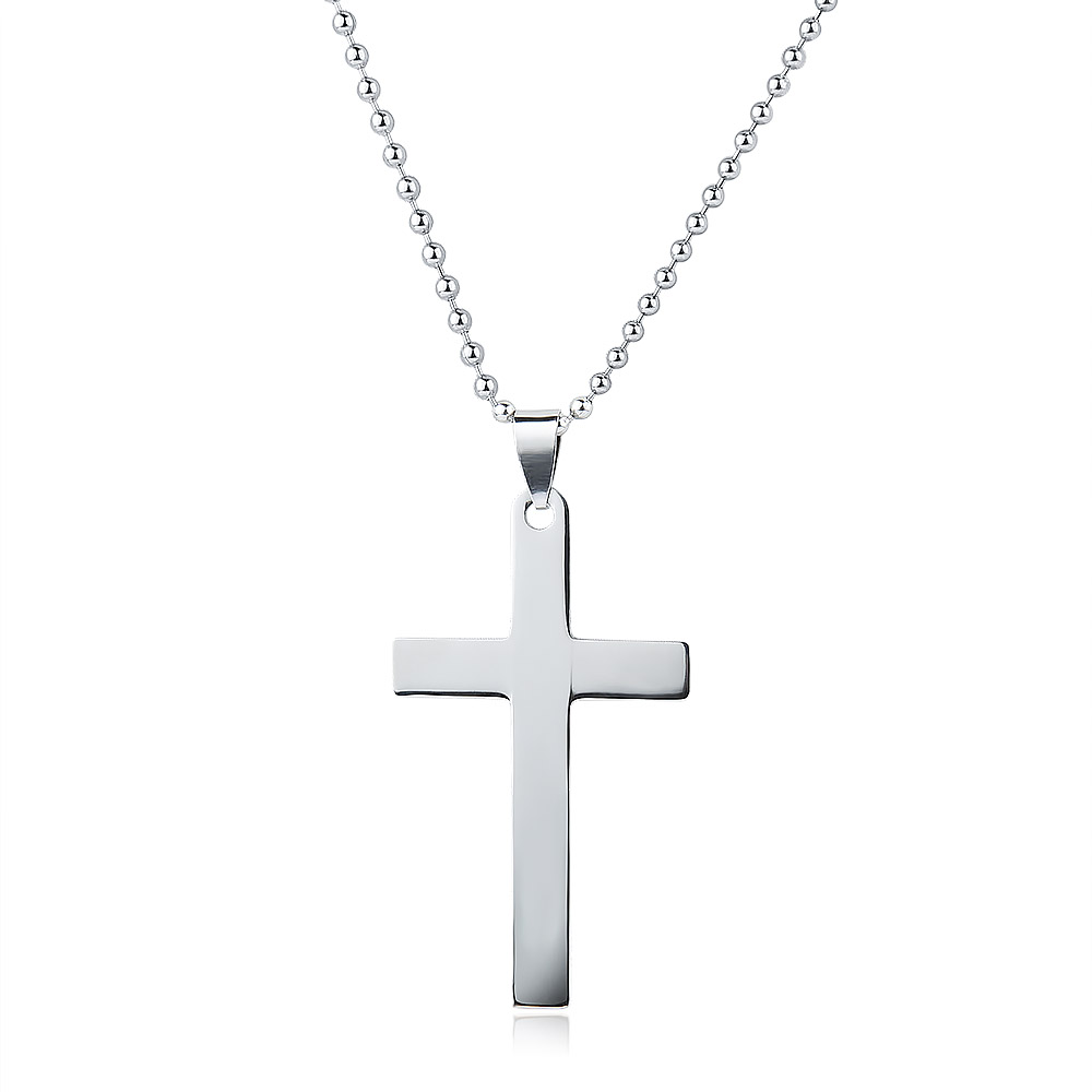 Aziz bekkaoui customized logo cross necklace titanium stainless aziz bekkaoui customized logo cross necklace titanium stainless steel necklace men women fashion jewelry necklace pendant gift in pendant necklaces from aloadofball