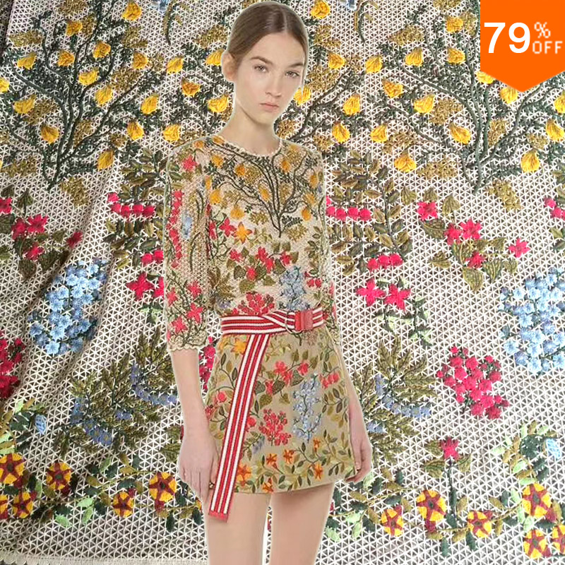 New geometrical aesthetic feeling painting cell grid pattern European flowers fashion quality luxury Dress Fabric Dress Laces
