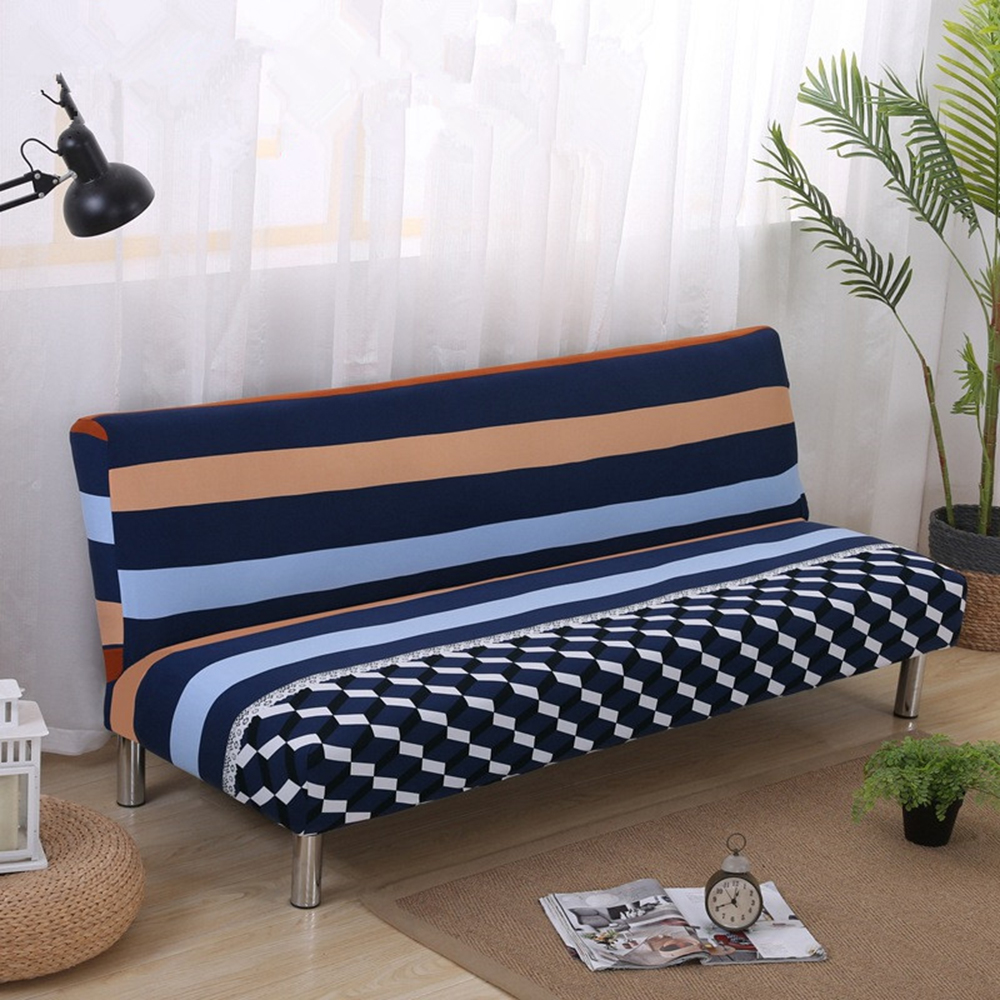 New Arrival Blue Striped Sofa Bed Cover Geometrical Simple Lifestlye Sofa  Cover Navy Light Blue Without Armrest Couch Cover