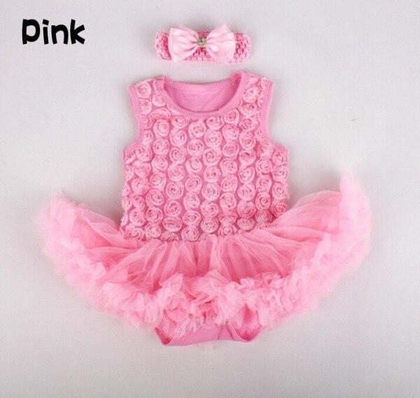 Hot Sale 1set Baby Girls Tutu Dress+Headband Summer Vest Bodysuits Infant Girls Cotton Rose Romper Dresses + 0-12M
