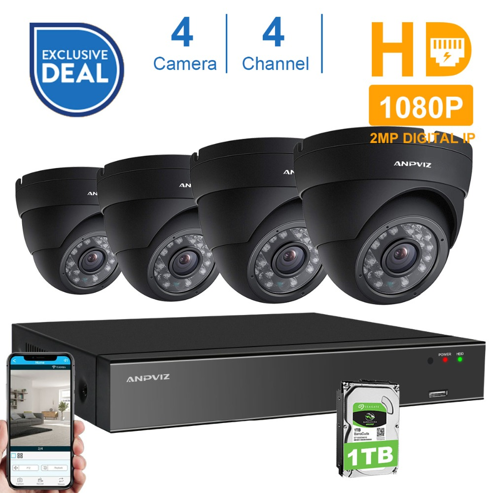 Anpviz 4CH 1080P POE NVR Kit CCTV Security System 2.0MP Vandalproof Dome Indoor Outdoor IP Camera P2P Video Surveillance System techage 4ch 1080p hd poe nvr 2 0mp cctv system vandalproof dome ip indoor outdoor camera p2p ir night vision surveillance kit