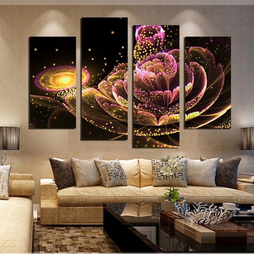 4 PCS Toile Peinture Glod Fleur e Peintures Pour Salon Une Telle Beauté Image Sur Le Mur Toile Imprimée Sans Cadre F1880 - 2