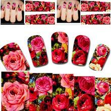 2 UNIDS Nueva Llegada Hermosa Transferencia de Agua Del Clavo Etiqueta Engomada Del Arte tatuajes Sexy Rosa Roja Flores de Jardín de Diseño Diy Herramienta de la Manicura Xf1411