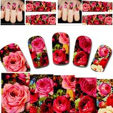 2 PCS New Arrival Beautiful Water Transfer Nail Art Sticker Decal Sexy Red Rose Flowers Garden Design Diy Manicure Tool Xf1411