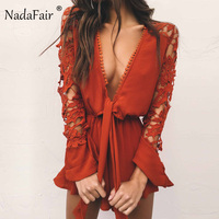 Nadafair Long Sleeve Deep V Neck Hollow Out Lace Boot Cut Chiffon Playsuits Women Summer Sexy