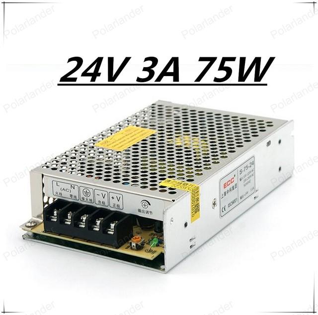75 W 24 v 3A fuente de alimentación conmutada LED Strip Light power supply transforme110V/220 V Alta calidad Del Envío gratis