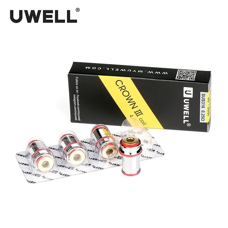 UWELL 4 unids/pack corona III reemplazo 0,25/0,4/0,5 ohm para corona III/corona III MINI tanque electrónico cigarrillo atomizador