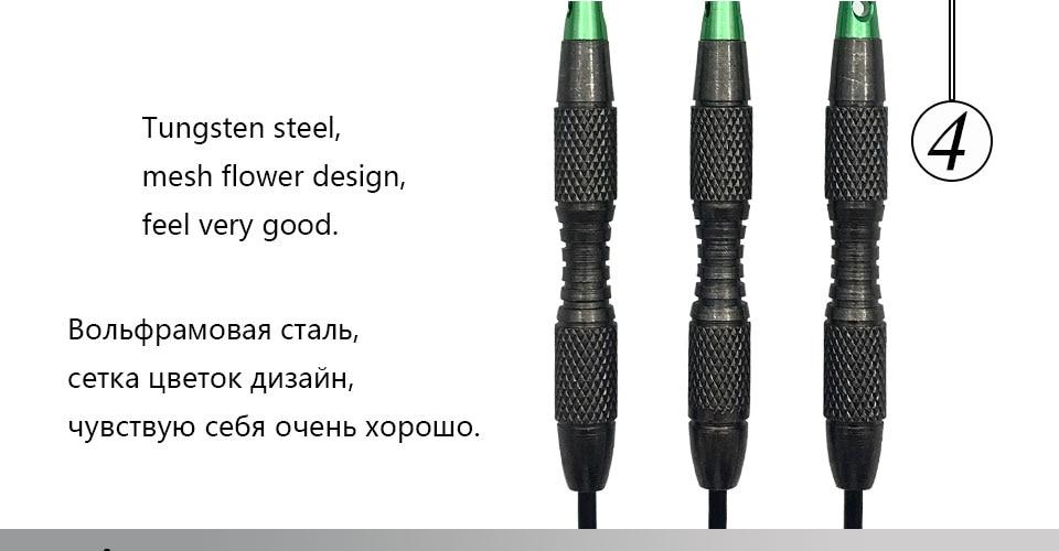 Easytoday 3Pcsset Standard Steel Tip Darts Hard Type Tungsten Darts Set Aluminum Green Shafts Darts Flights Games (4)