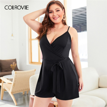 COLROVIE Plus Size Black Self Tie Solid Sleeveless Cami Romper Women Clothes 2019 Summer Casual Overalls Office Ladies Playsuit